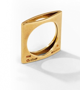 Bague carrée en or jaune Dinh Van x Cartier
