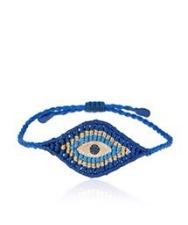 Zoe Kompitsi, bracelet tressé avec en son centre un Evil Eye en or, diamant et saphir